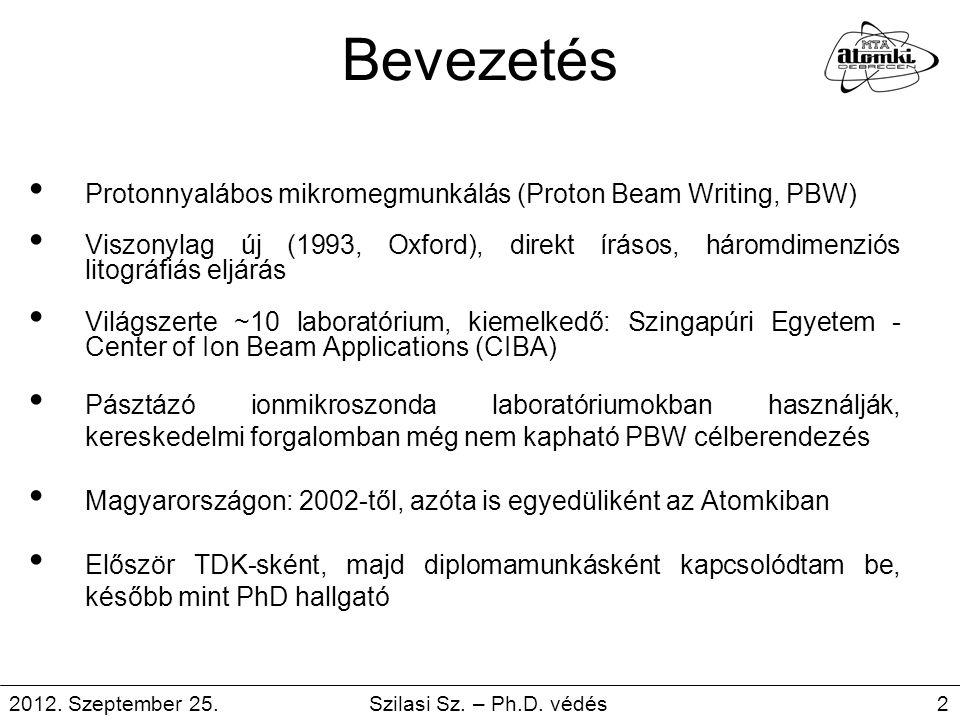 Bevezetés Protonnyalábos mikromegmunkálás (Proton Beam Writing, PBW)