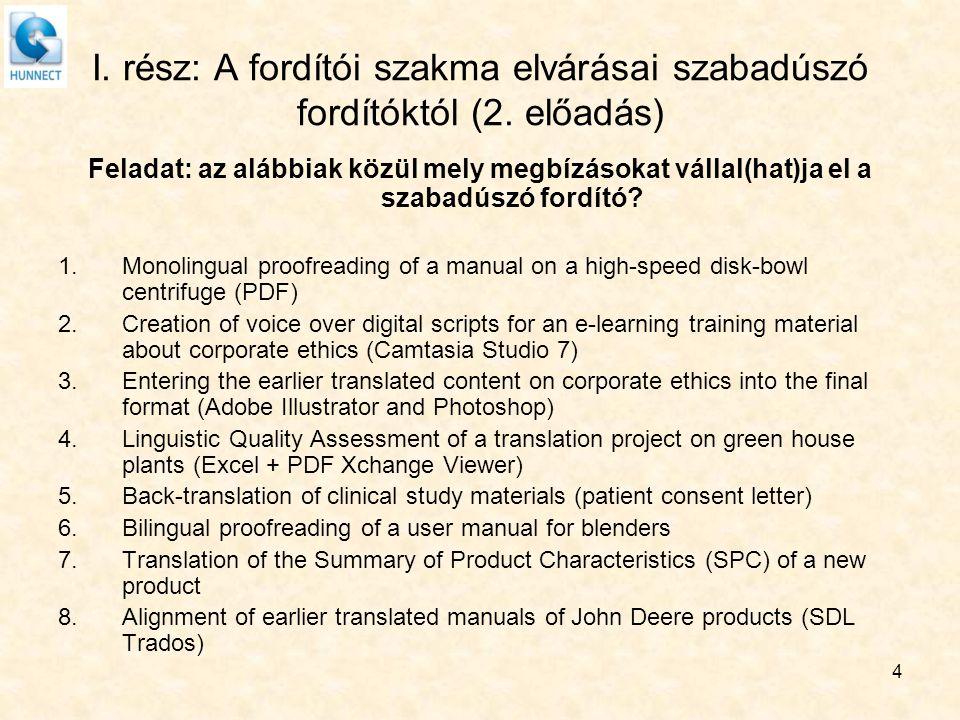 I. rész: A fordítói szakma elvárásai szabadúszó fordítóktól (2