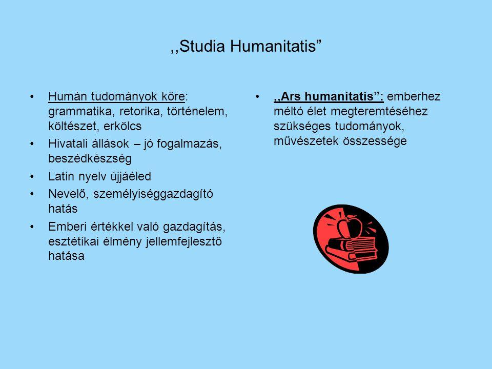 ,,Studia Humanitatis Humán tudományok köre: grammatika, retorika, történelem, költészet, erkölcs. Hivatali állások – jó fogalmazás, beszédkészség.