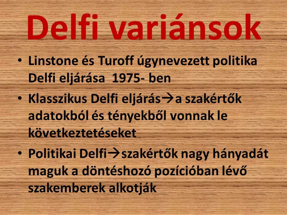 Delfi variánsok Linstone és Turoff úgynevezett politika Delfi eljárása 1975- ben.