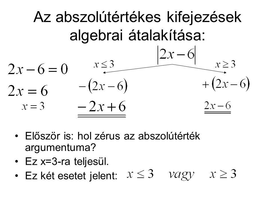 Az abszolútértékes kifejezések algebrai átalakítása:
