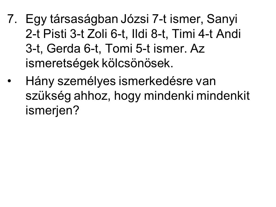 Egy társaságban Józsi 7-t ismer, Sanyi 2-t Pisti 3-t Zoli 6-t, Ildi 8-t, Timi 4-t Andi 3-t, Gerda 6-t, Tomi 5-t ismer. Az ismeretségek kölcsönösek.