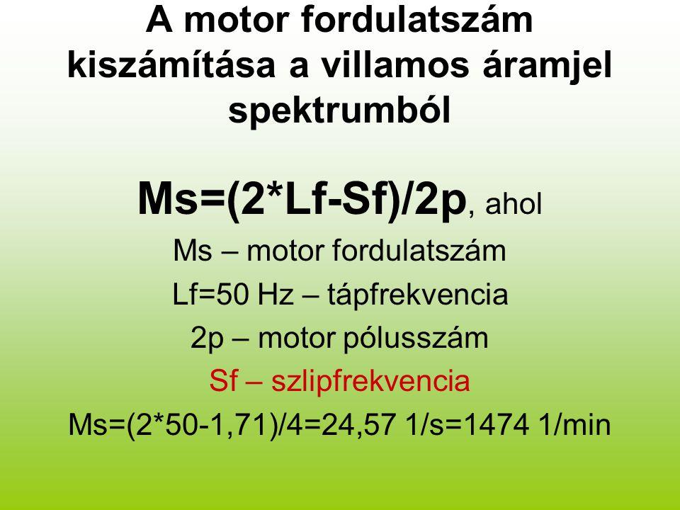 A motor fordulatszám kiszámítása a villamos áramjel spektrumból