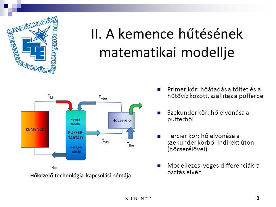 II. A kemence hűtésének matematikai modellje