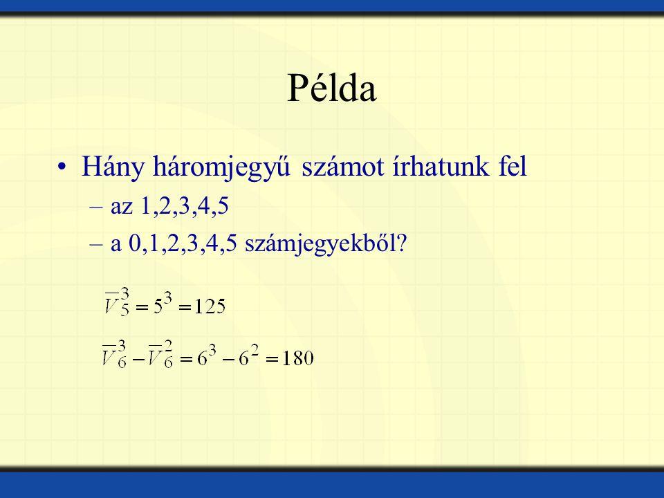 Példa Hány háromjegyű számot írhatunk fel az 1,2,3,4,5