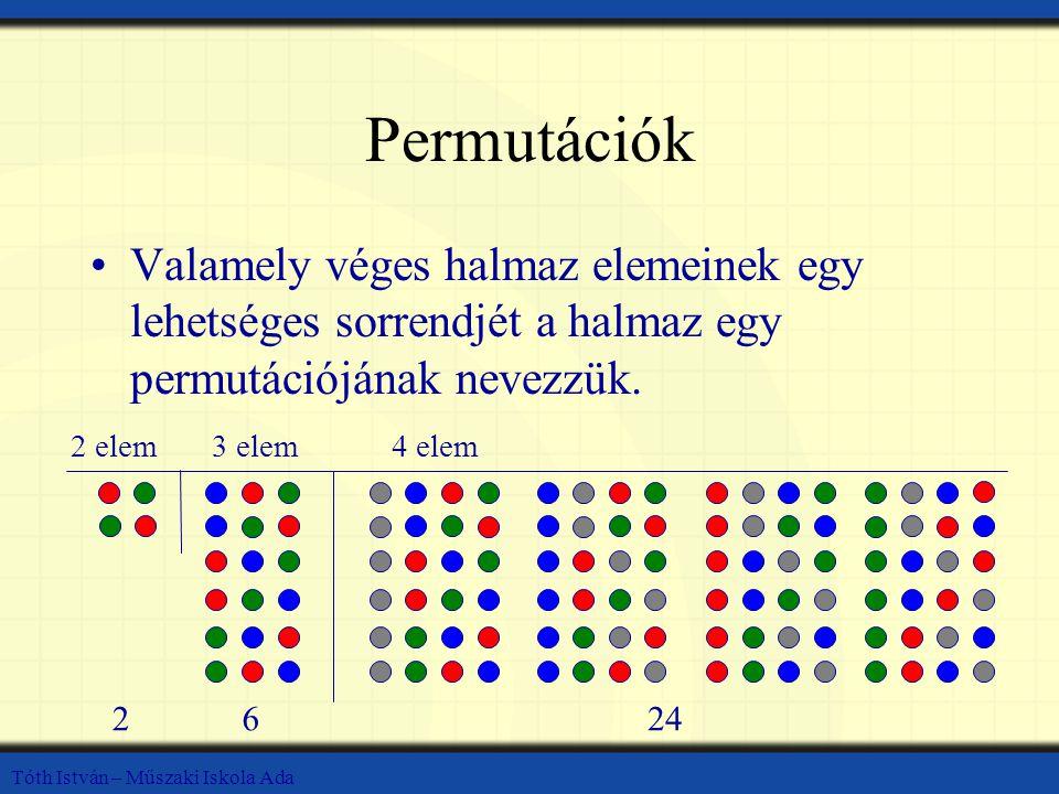 Permutációk Valamely véges halmaz elemeinek egy lehetséges sorrendjét a halmaz egy permutációjának nevezzük.