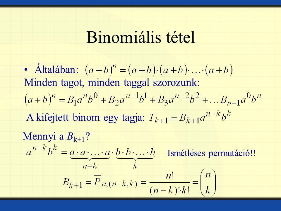 Binomiális tétel Általában: Minden tagot, minden taggal szorozunk: