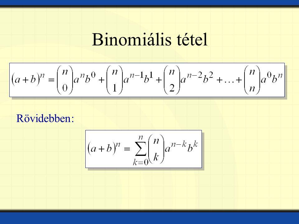 Binomiális tétel Rövidebben: