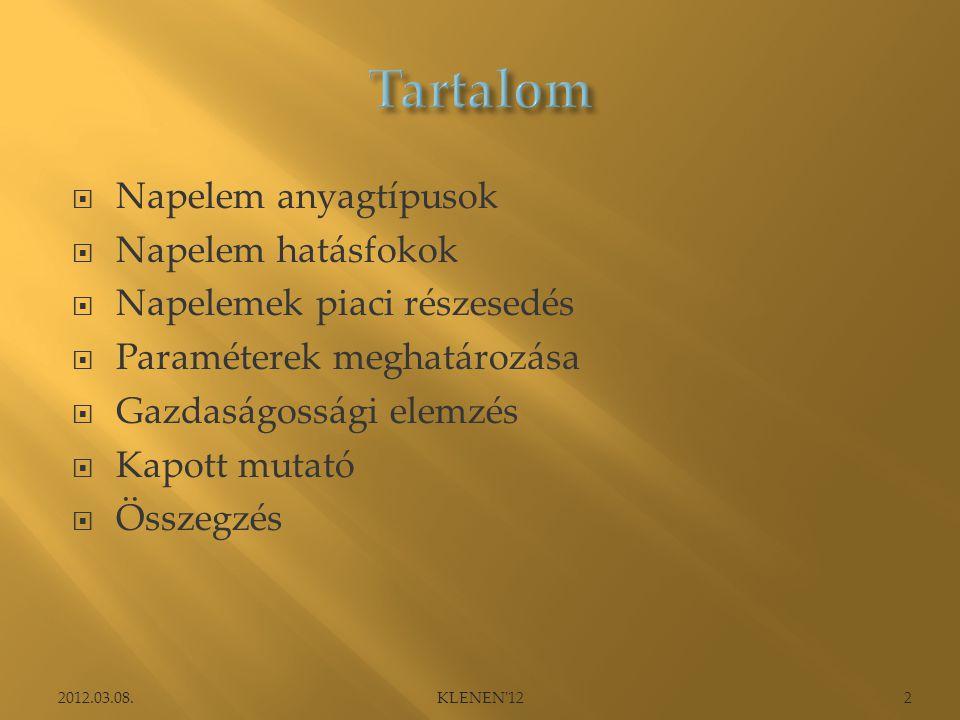 Tartalom Napelem anyagtípusok Napelem hatásfokok