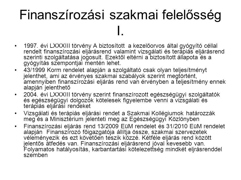 Finanszírozási szakmai felelősség I.
