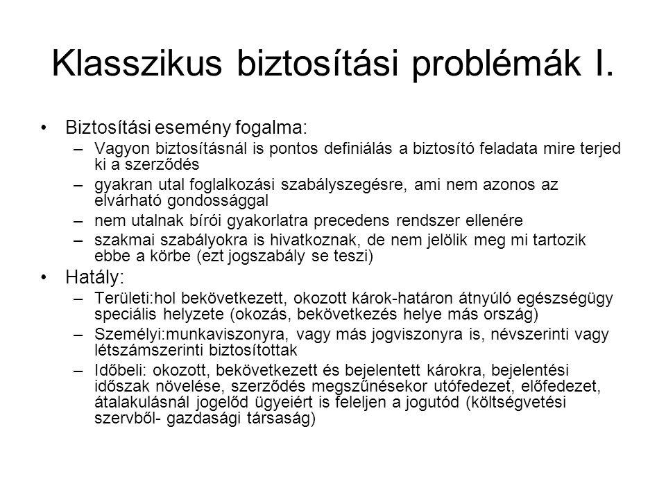 Klasszikus biztosítási problémák I.