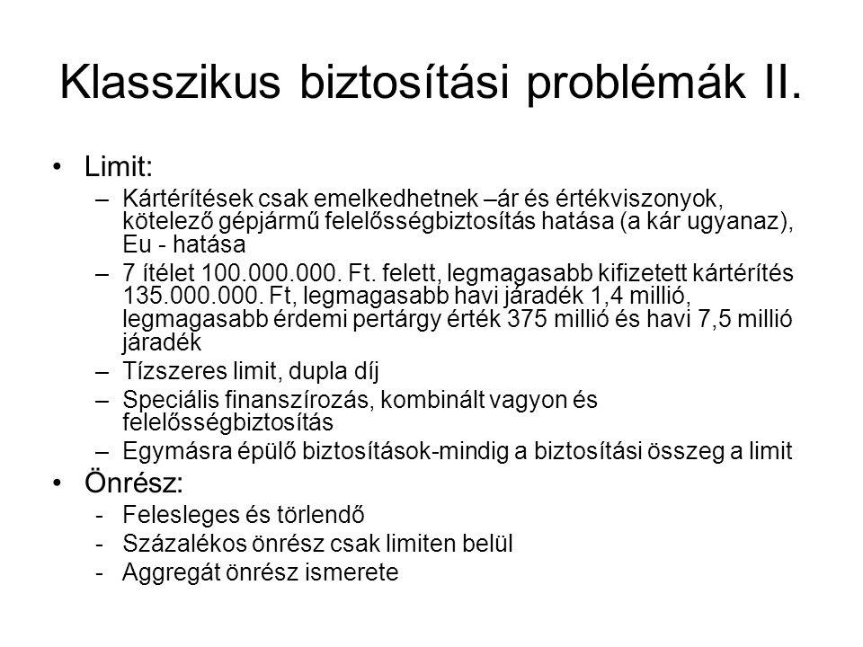Klasszikus biztosítási problémák II.