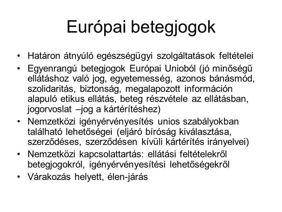 Európai betegjogok Határon átnyúló egészségügyi szolgáltatások feltételei.