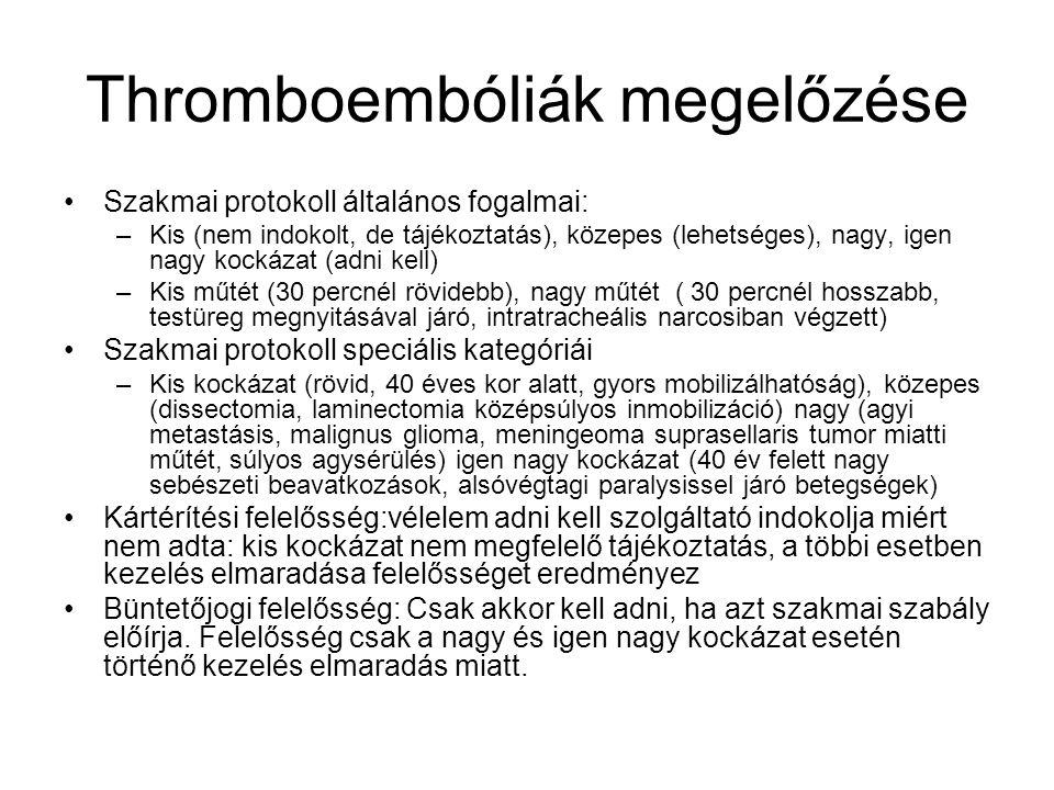 Thromboembóliák megelőzése