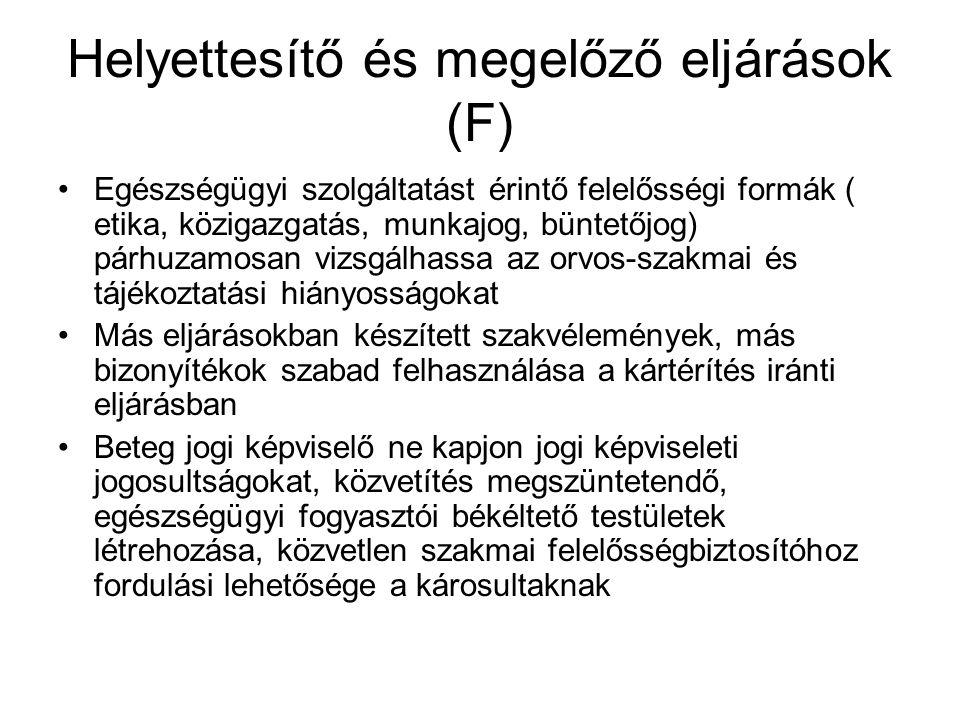 Helyettesítő és megelőző eljárások (F)
