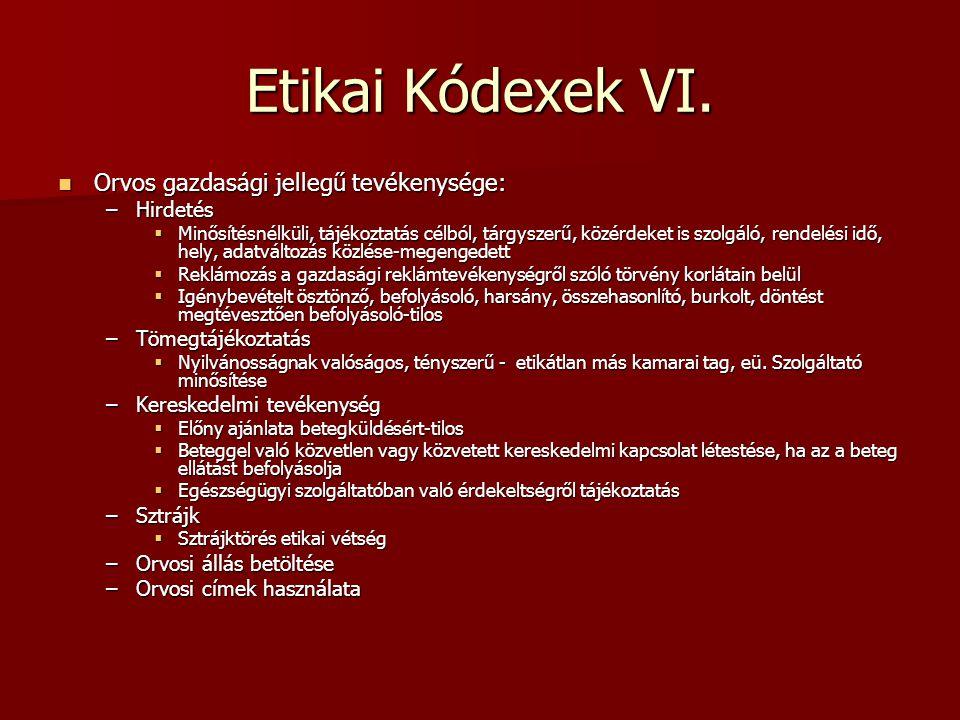 Etikai Kódexek VI. Orvos gazdasági jellegű tevékenysége: Hirdetés