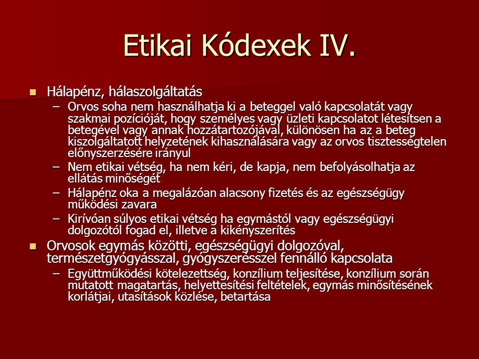 Etikai Kódexek IV. Hálapénz, hálaszolgáltatás