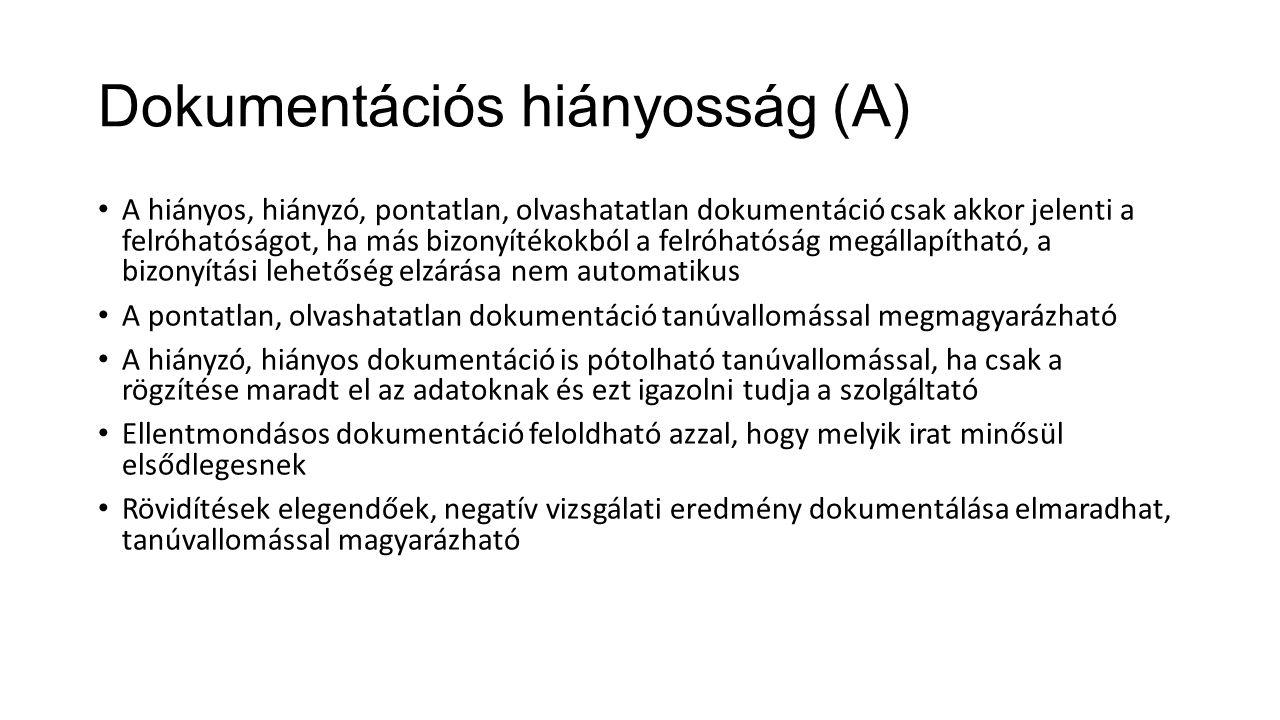 Dokumentációs hiányosság (A)