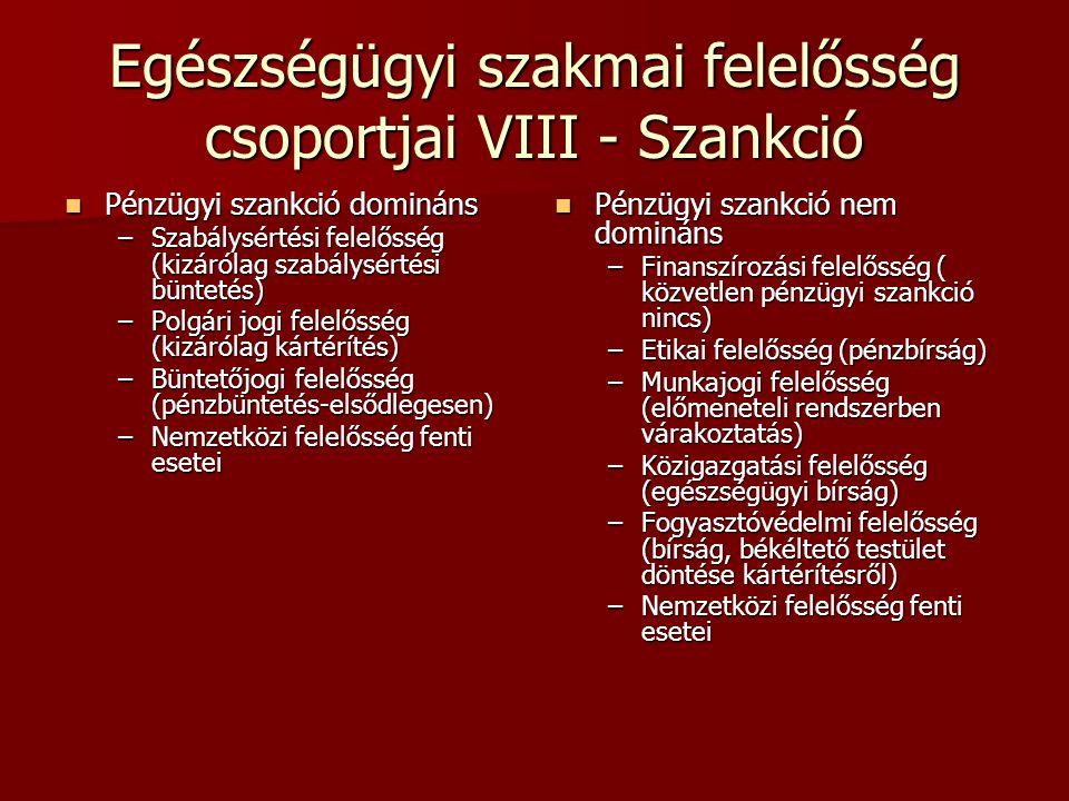 Egészségügyi szakmai felelősség csoportjai VIII - Szankció