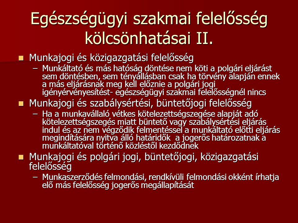 Egészségügyi szakmai felelősség kölcsönhatásai II.