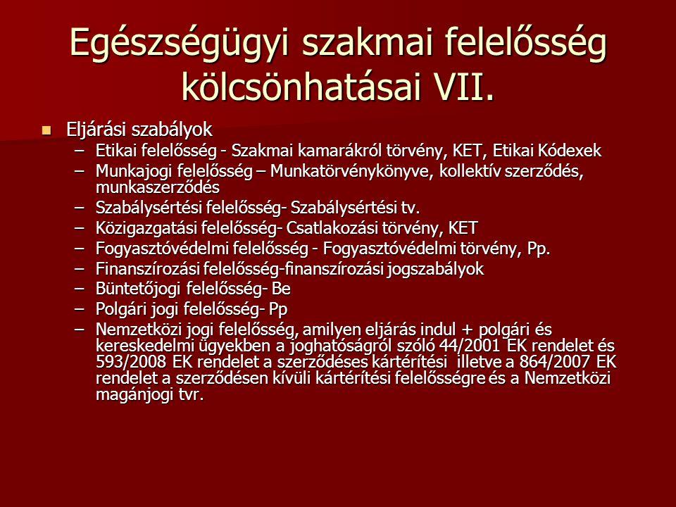 Egészségügyi szakmai felelősség kölcsönhatásai VII.