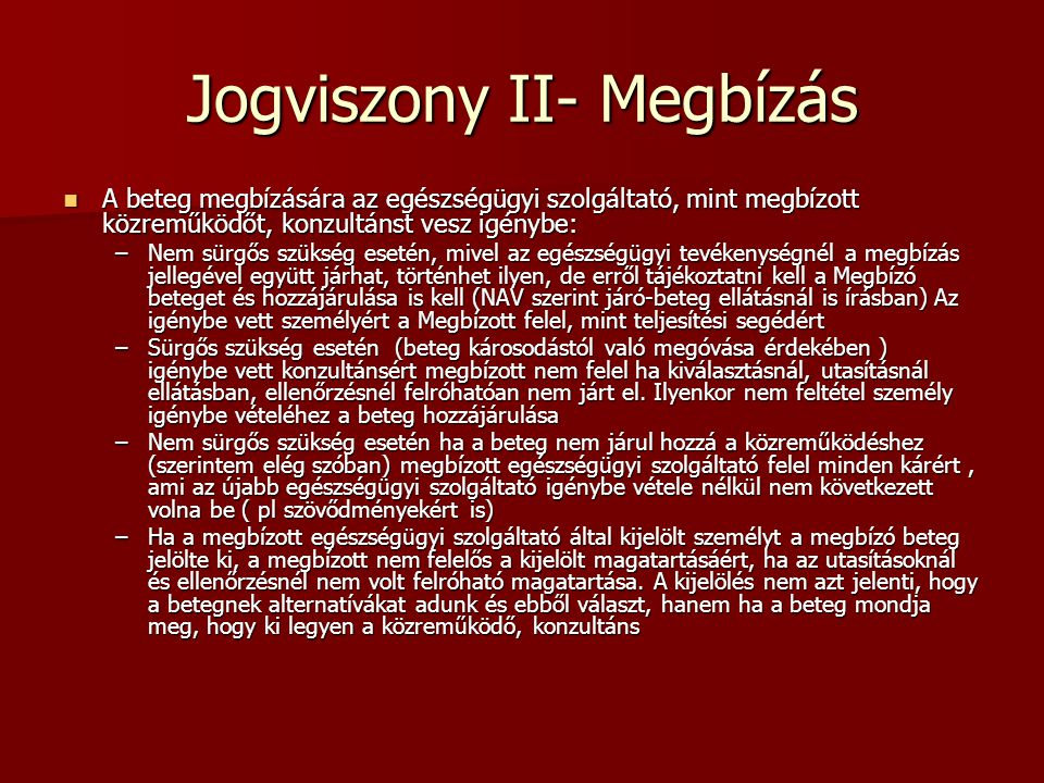 Jogviszony II- Megbízás