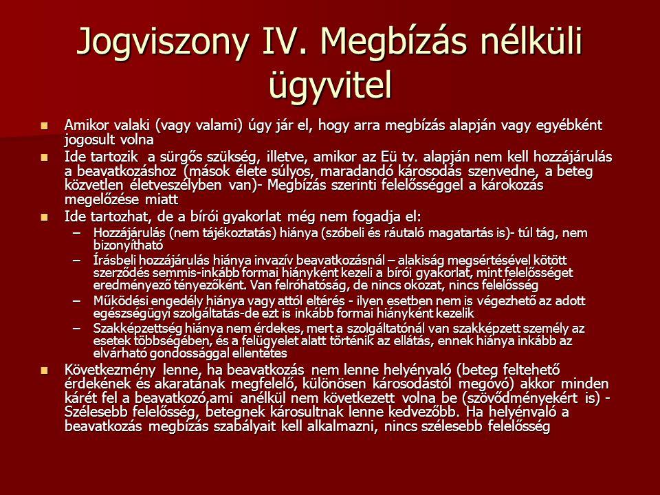 Jogviszony IV. Megbízás nélküli ügyvitel