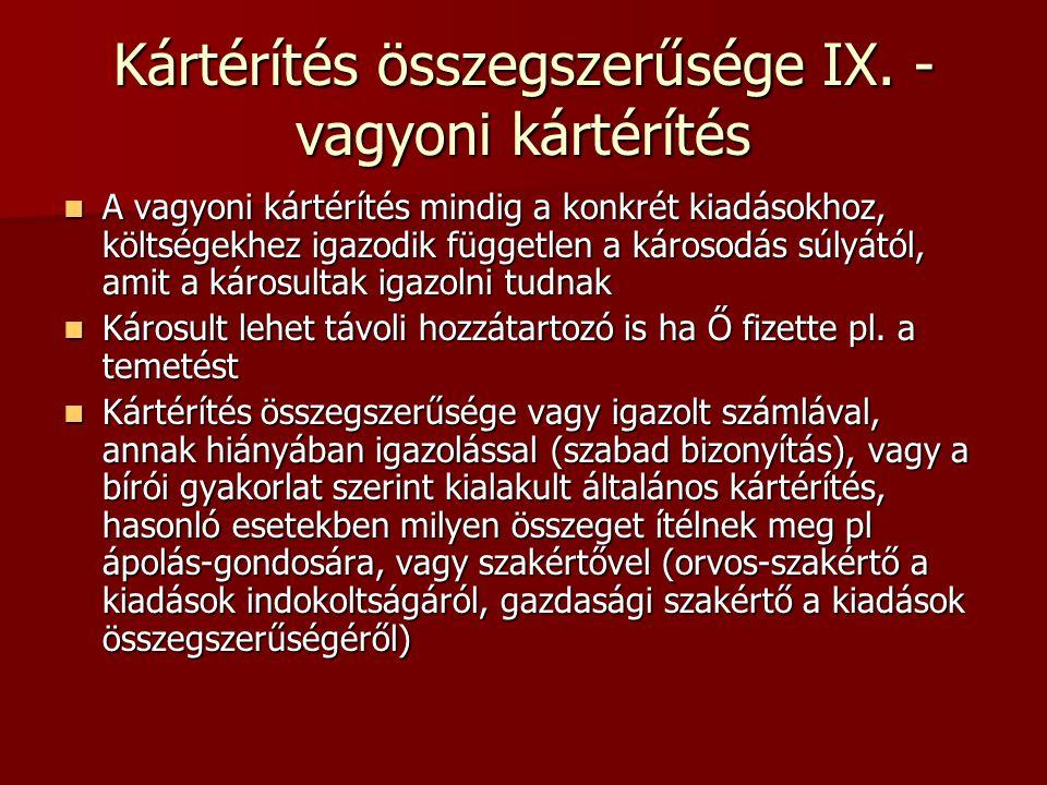 Kártérítés összegszerűsége IX. - vagyoni kártérítés