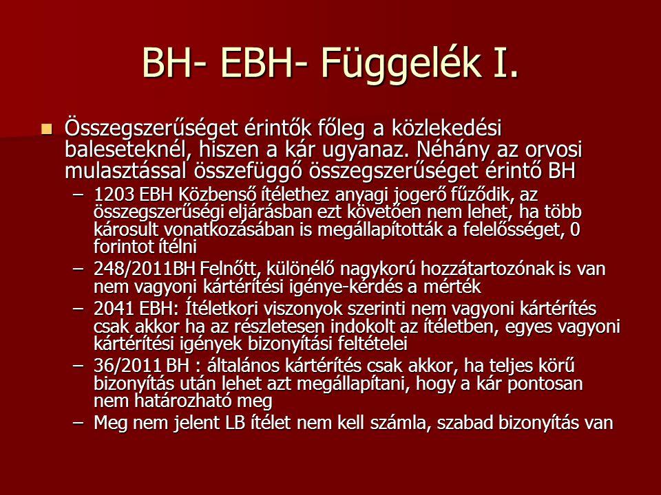BH- EBH- Függelék I.