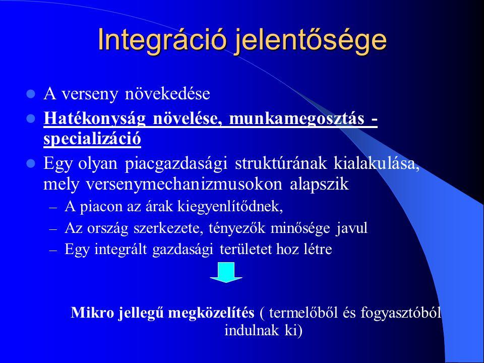 Integráció jelentősége