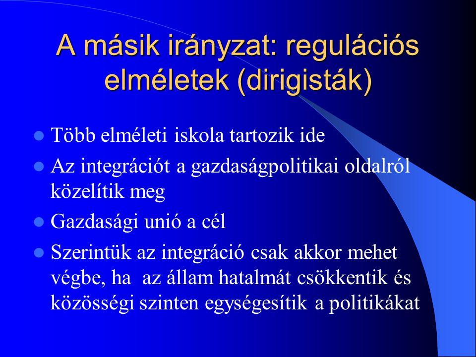 A másik irányzat: regulációs elméletek (dirigisták)