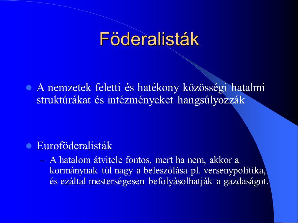 Föderalisták A nemzetek feletti és hatékony közösségi hatalmi struktúrákat és intézményeket hangsúlyozzák.