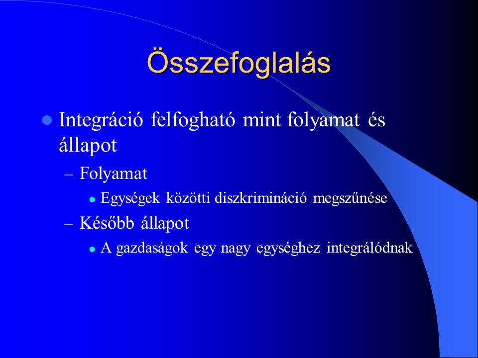 Összefoglalás Integráció felfogható mint folyamat és állapot Folyamat