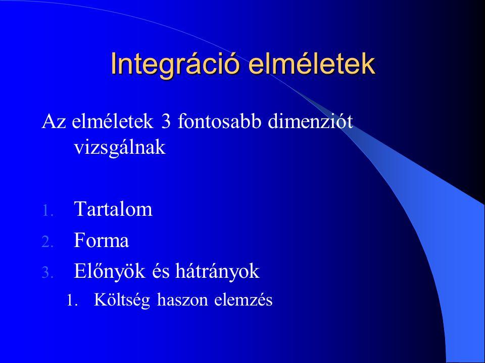 Integráció elméletek Az elméletek 3 fontosabb dimenziót vizsgálnak