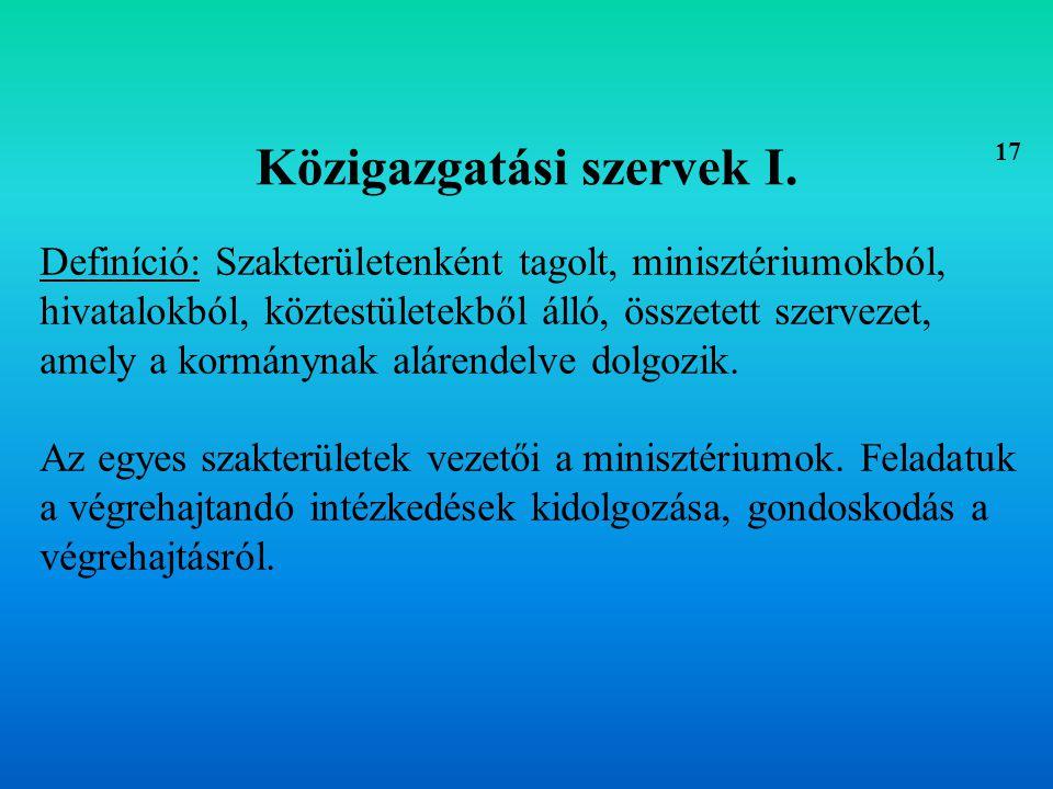 Közigazgatási szervek I.