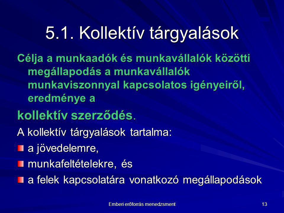 5.1. Kollektív tárgyalások