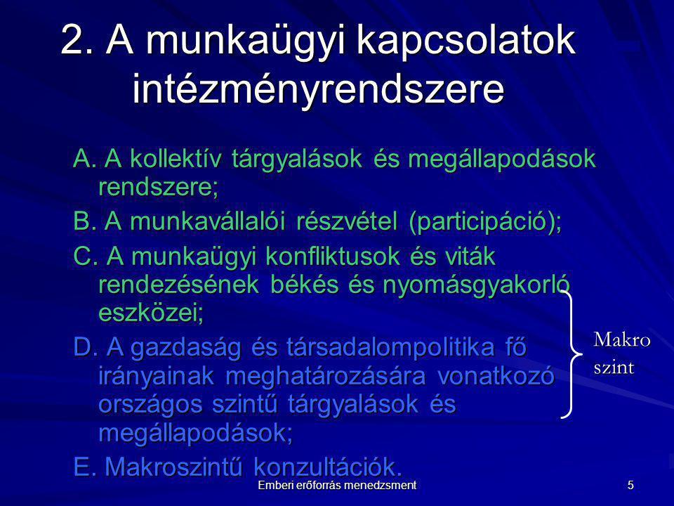 2. A munkaügyi kapcsolatok intézményrendszere