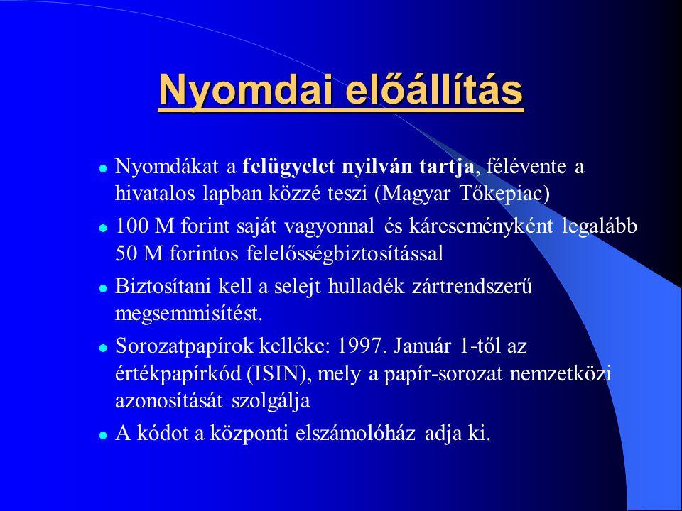 Nyomdai előállítás Nyomdákat a felügyelet nyilván tartja, félévente a hivatalos lapban közzé teszi (Magyar Tőkepiac)