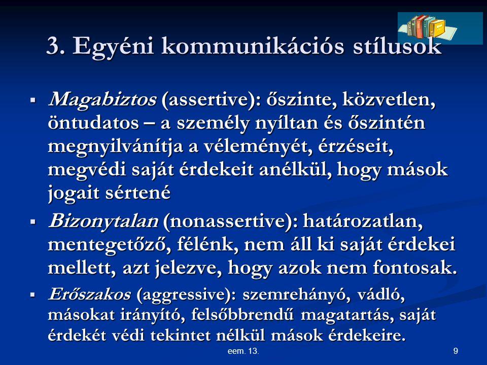 3. Egyéni kommunikációs stílusok