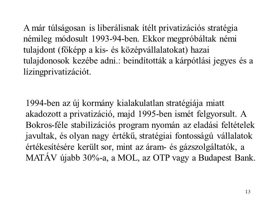 A már túlságosan is liberálisnak ítélt privatizációs stratégia némileg módosult 1993-94-ben. Ekkor megpróbáltak némi tulajdont (főképp a kis- és középvállalatokat) hazai tulajdonosok kezébe adni.: beindították a kárpótlási jegyes és a lízingprivatizációt.