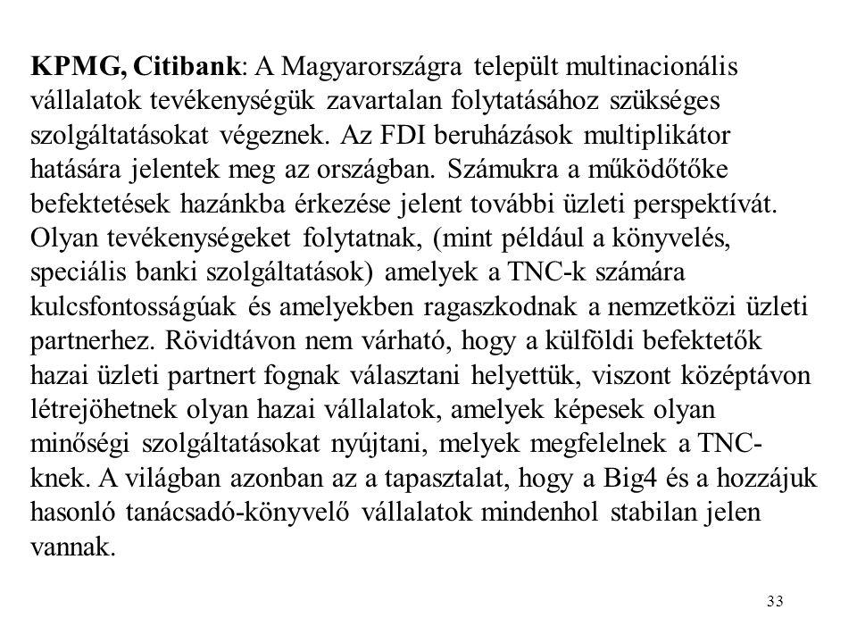KPMG, Citibank: A Magyarországra települt multinacionális vállalatok tevékenységük zavartalan folytatásához szükséges szolgáltatásokat végeznek.