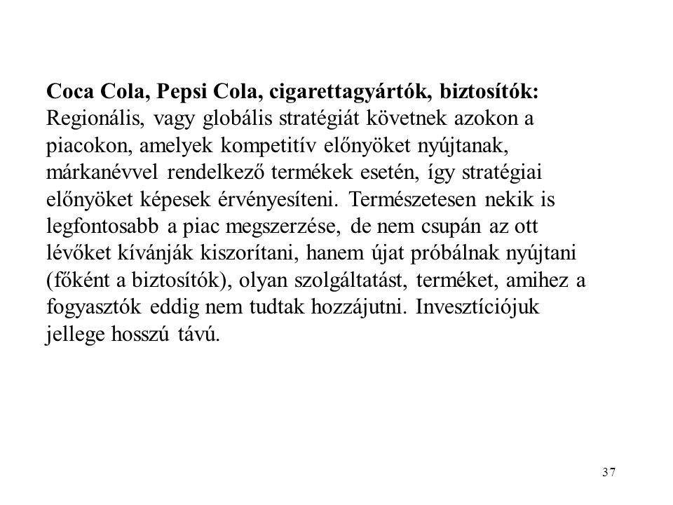 Coca Cola, Pepsi Cola, cigarettagyártók, biztosítók: Regionális, vagy globális stratégiát követnek azokon a piacokon, amelyek kompetitív előnyöket nyújtanak, márkanévvel rendelkező termékek esetén, így stratégiai előnyöket képesek érvényesíteni.