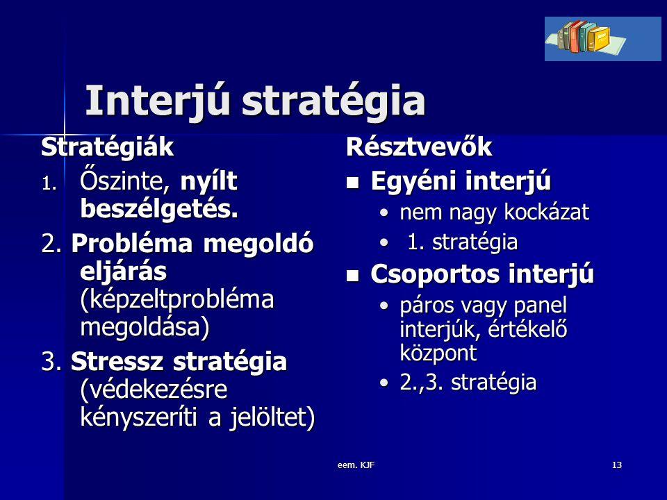 Interjú stratégia Stratégiák Őszinte, nyílt beszélgetés.