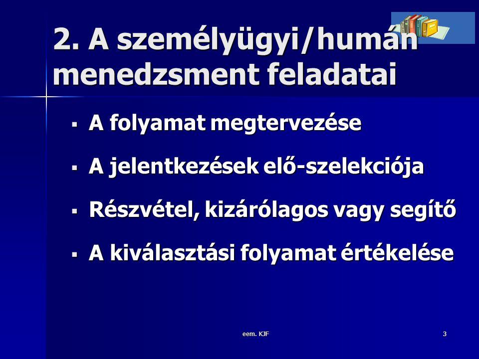 2. A személyügyi/humán menedzsment feladatai