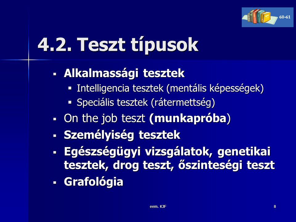 4.2. Teszt típusok Alkalmassági tesztek On the job teszt (munkapróba)