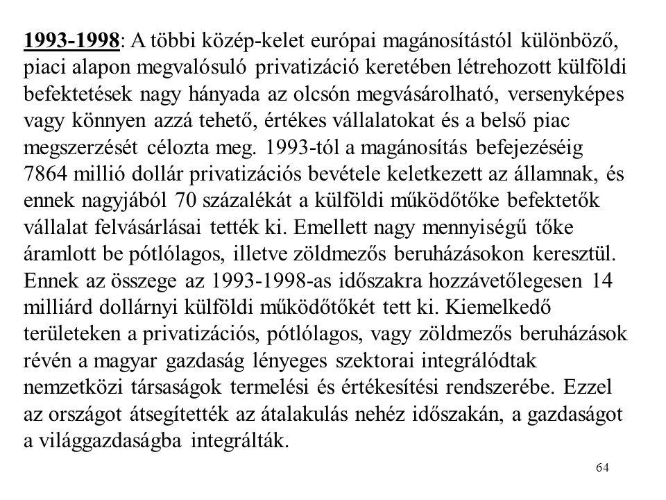 1993-1998: A többi közép-kelet európai magánosítástól különböző, piaci alapon megvalósuló privatizáció keretében létrehozott külföldi befektetések nagy hányada az olcsón megvásárolható, versenyképes vagy könnyen azzá tehető, értékes vállalatokat és a belső piac megszerzését célozta meg.