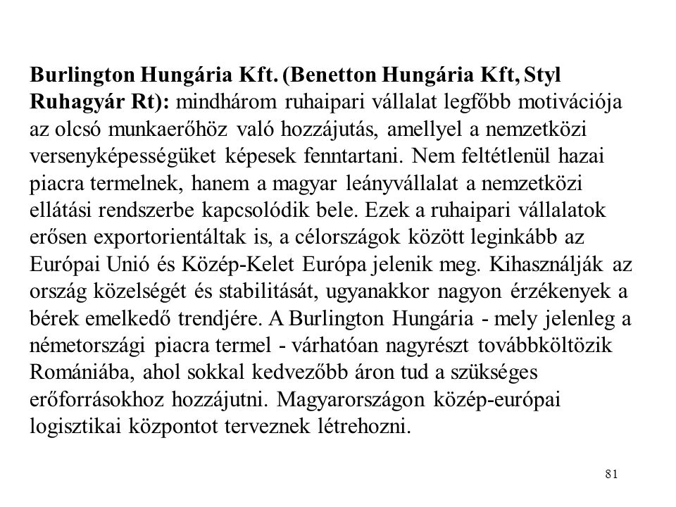 Burlington Hungária Kft