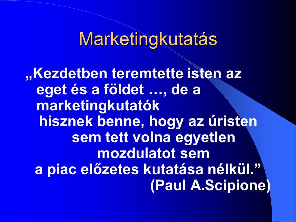"""Marketingkutatás """"Kezdetben teremtette isten az eget és a földet …, de a marketingkutatók."""