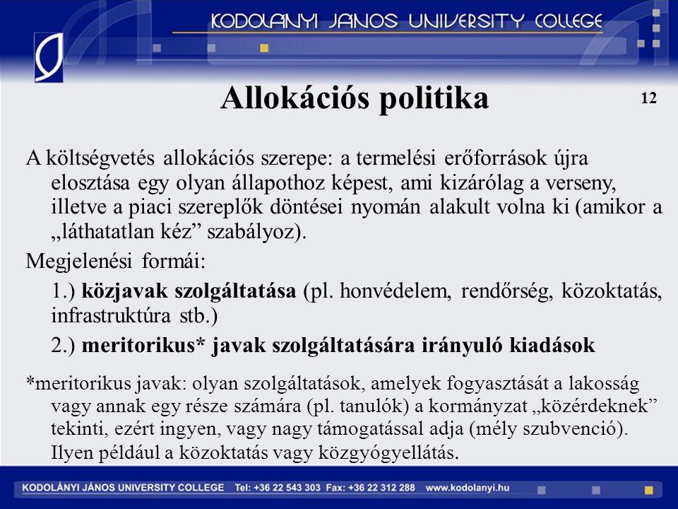 Allokációs politika 12.