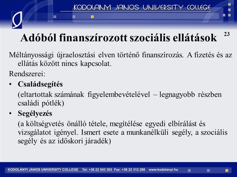Adóból finanszírozott szociális ellátások